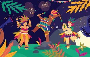 brasiliano che suona musica e balla sull'illustrazione del carnevale di rio de janeiro vettore