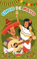 banda mariachi e donne celebrano il cinco de mayo vettore