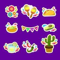 collezione di icone piatte cinco de mayo festività vettore