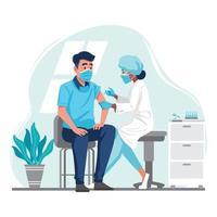 medico che inietta il vaccino contro il coronavirus a un concetto di paziente vettore