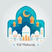 saluti di stagione semplici e minimalisti di eid mubarak vettore