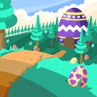 giardino artistico delle uova di pasqua vettore