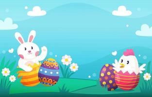 simpatico coniglio e pulcini sullo sfondo del giorno di Pasqua vettore
