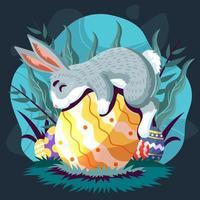 caldo abbraccio dal simpatico coniglietto pasquale vettore