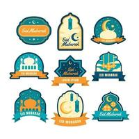 set di etichette eid mubarak vettore