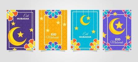 raccolta di biglietti di auguri di stagione eid mubarak vettore
