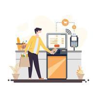 concetto di macchina di pagamento senza contatto vettore