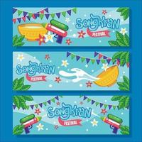 felice set di banner del festival di songkran vettore