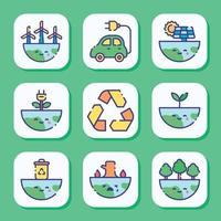 set di icone di giornata della terra vettore