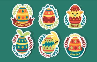 collezione di adesivi di Pasqua in stile piatto vettore