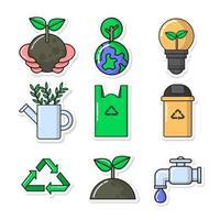 set di icone di consapevolezza della giornata della terra vettore