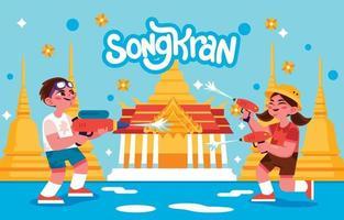 bambini che celebrano il festival di songkran vettore