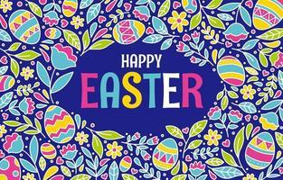 sfondo di uovo di Pasqua con fiori colorati in fiore vettore