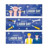 raccolta di banner festa del lavoro in design piatto vettore