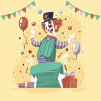 personaggio clown in colori schema retrò vettore