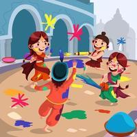 disegno di celebrazione del festival di holi vettore