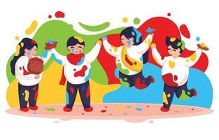 personaggio dei cartoni animati colorati holi festival vettore