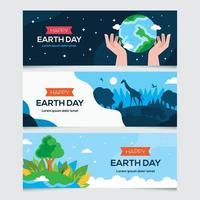 raccolta di banner della giornata della terra vettore