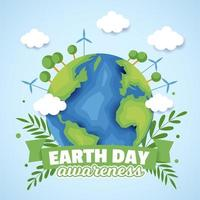 concetto di consapevolezza della giornata della terra vettore