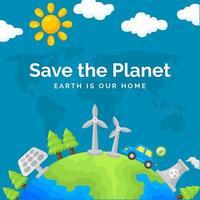 salvare il nostro pianeta sullo sfondo vettore