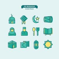 pacchetto di icone di eid mubarak vettore