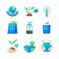 collezione di icone della giornata della terra vettore