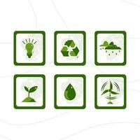 icona della giornata della terra con colore verde vettore