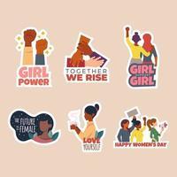 adesivo per divesity del giorno delle donne con citazione positiva vettore