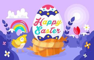 illustrazione del paesaggio con l'uovo di Pasqua vettore