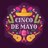 festività piatto colorato cinco de mayo vettore
