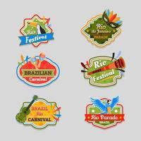 set di adesivi di carnevale brasiliano festival di rio vettore