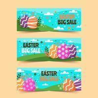 vendita di banner di Pasqua carino con sfondo floreale vettore