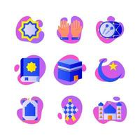 icone di eid mubarak vettore