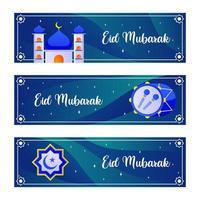 felice eid mubarak banner vettore