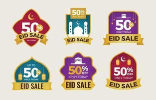 collezione di etichette in vendita eid mubarak vettore