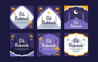 eid mubarak modello di post sui social media vettore