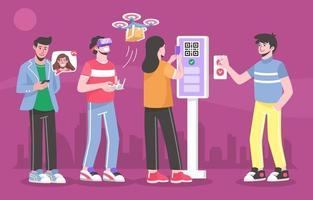 persone con tecnologia contactless vettore
