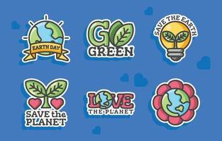 collezione di adesivi per la giornata della terra felice vettore