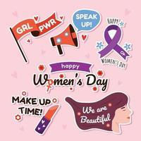 pacchetto di adesivi per l'attivismo della giornata della donna vettore