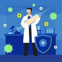 medico che tiene un grande vaccino per iniezione