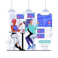 untact shopping online illustrazione vettore