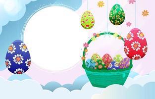 cornice circolare di Pasqua con decorazione di uova di Pasqua vettore