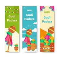 felice collezione di banner gudi padwa vettore