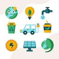 collezione di icone di giornata della terra piatta vettore