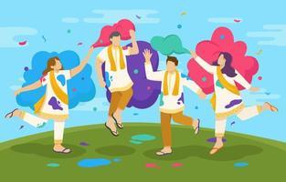 persone felici che celebrano il festival di holi vettore
