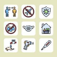 combattere il covid 19 con i protocolli sanitari vettore