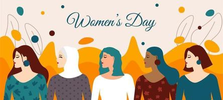 consapevolezza della giornata delle donne con carattere diverso vettore