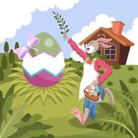 uovo di Pasqua e coniglietto nel prato vettore