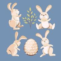 set di collezione di coniglietto di pasqua divertente disegnata a mano vettore