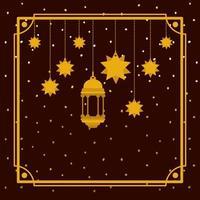 cornice dorata di ramadan kareem con lampada e stelle appese vettore